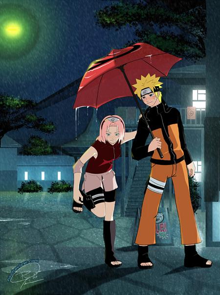 NaruSaku(under umbrella):-)